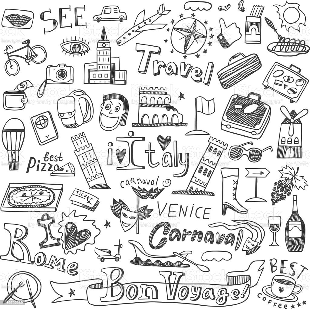 Italy travel doodles vector art illustration