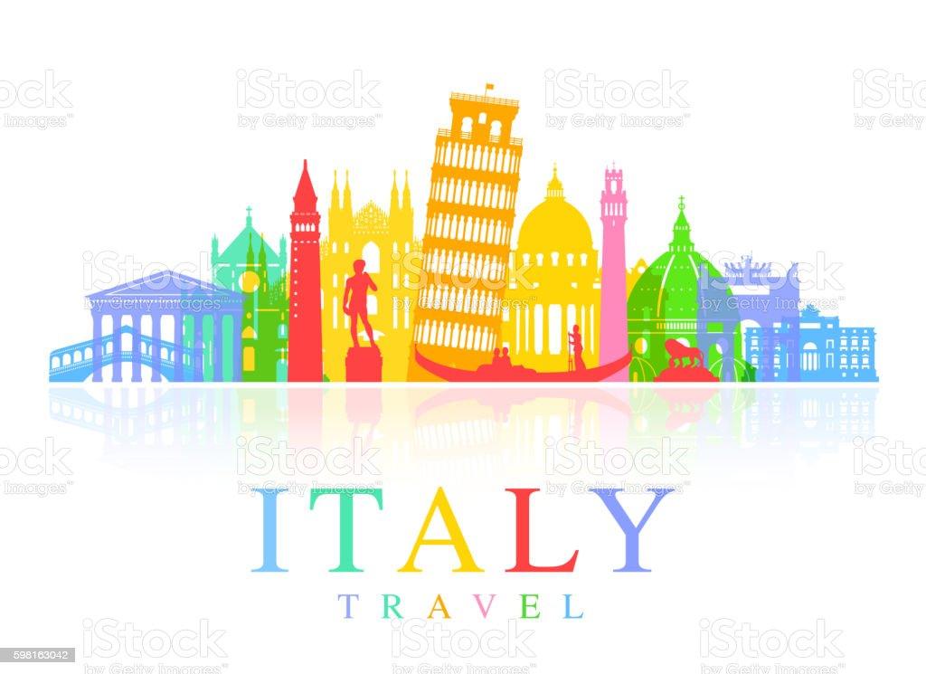 Italy Travel Landmarks Vector vector art illustration