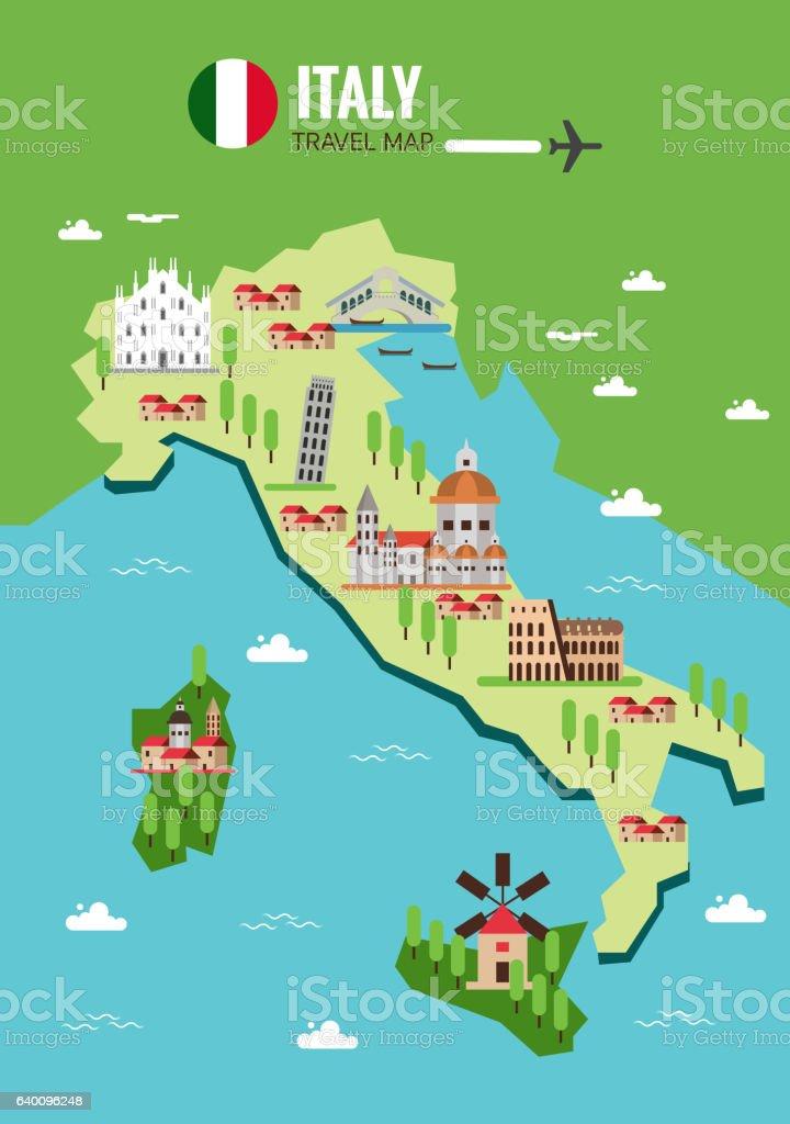 Italy travel map, Italian Colosseum, Milan, Venice. Sicilia and vector art illustration