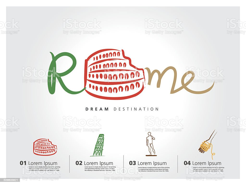 Italy travel set, Pisa, Rome, Colosseum, typography vector art illustration