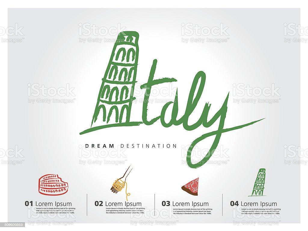 Italy travel set, Pisa, Rome, Colosseum, typography vector art illustration