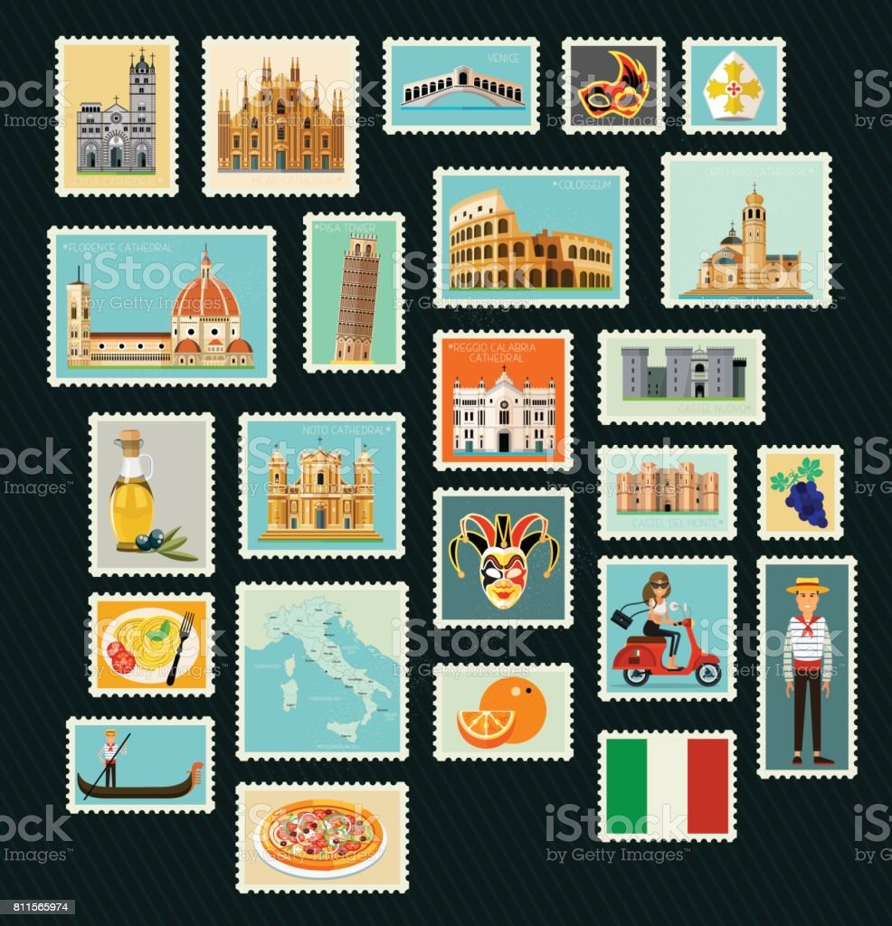 Italy Travel Stamps. vector art illustration