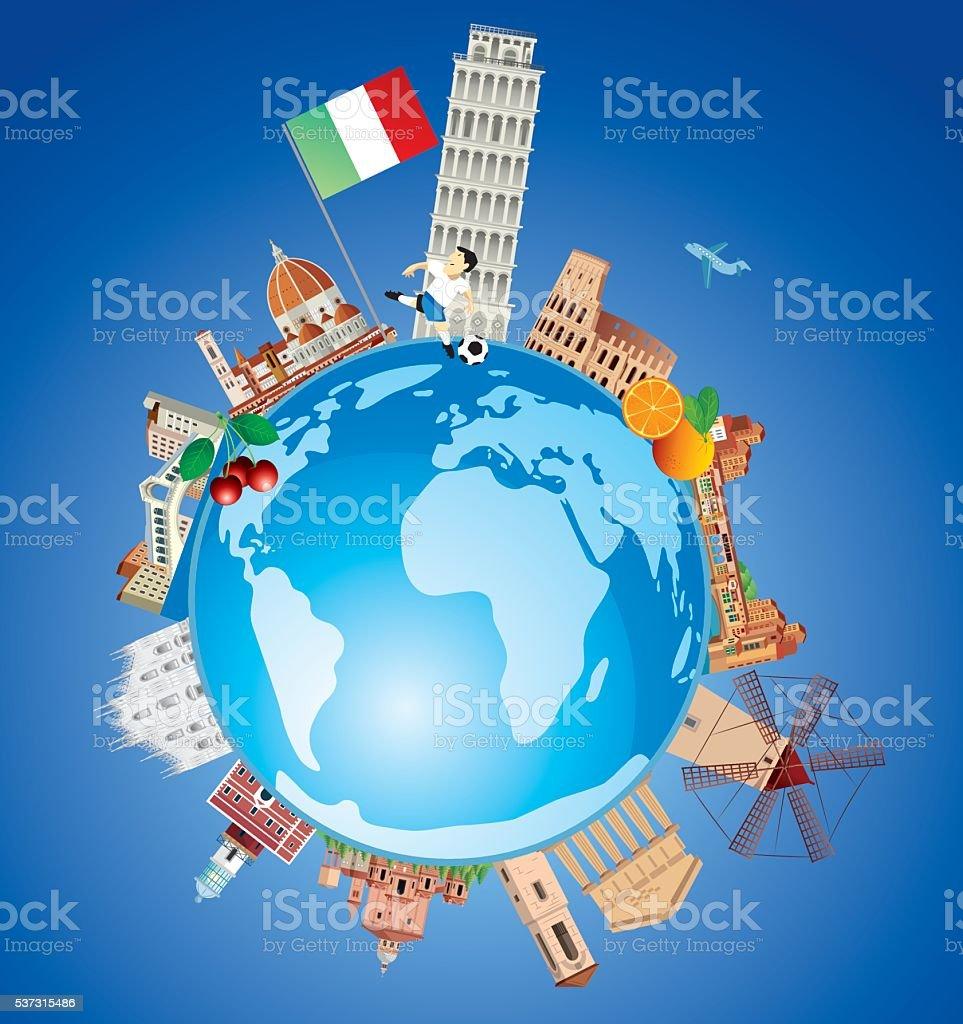 Italy Travel vector art illustration