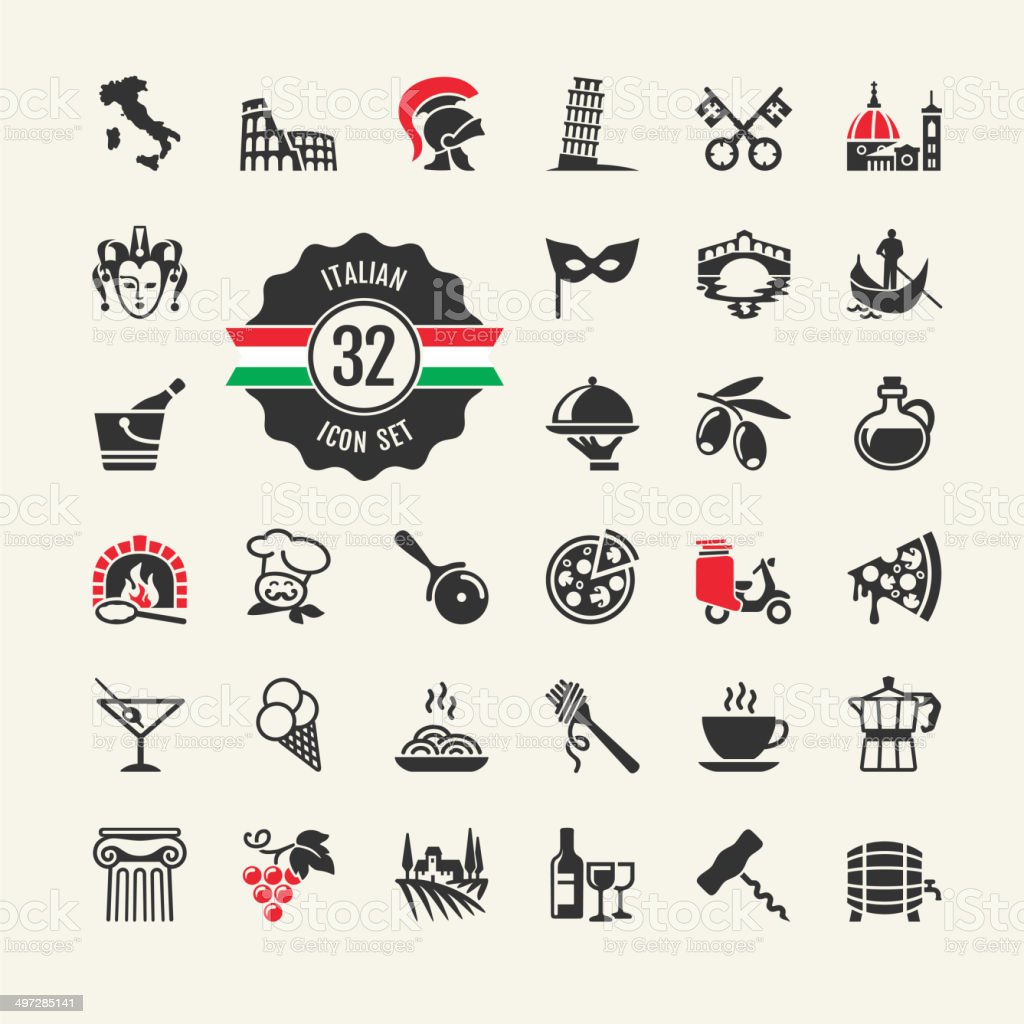 Italy - travel web icon set vector art illustration