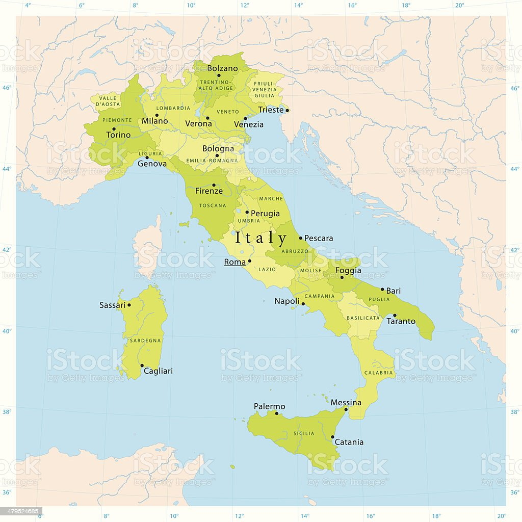 Italy Vector Map vector art illustration