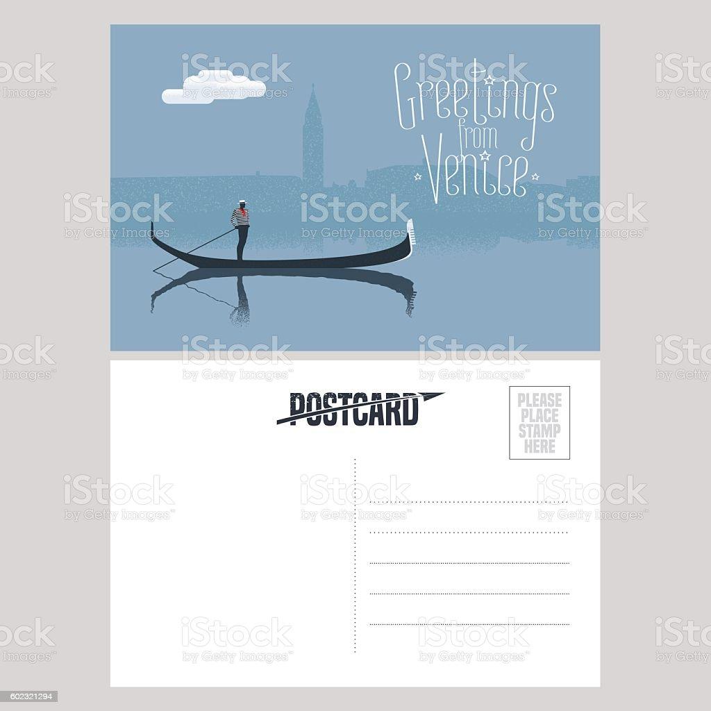 Italy, Venice vector postcard design with gondola vector art illustration