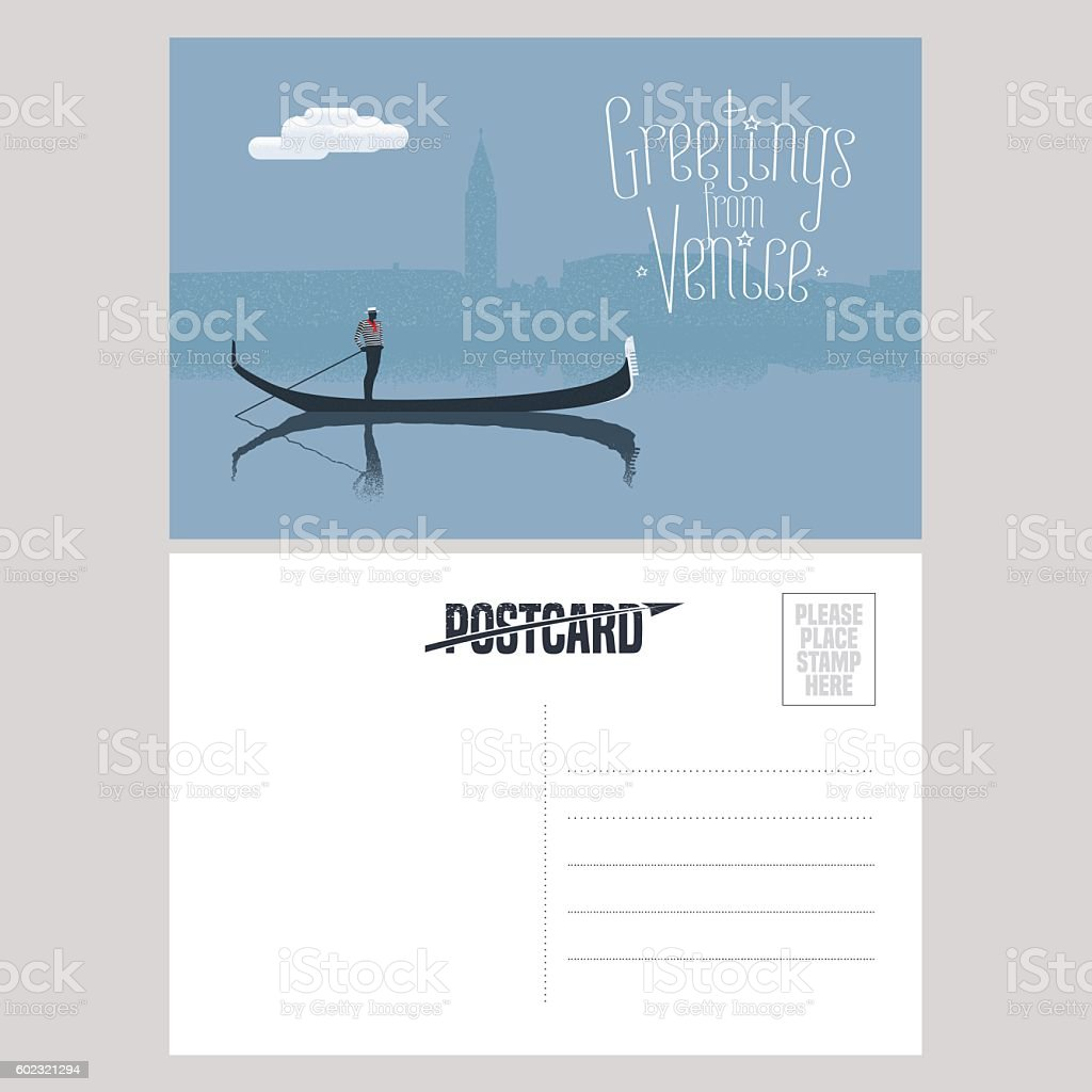 Italy, Venice vector postcard design with gondola vector art illustration