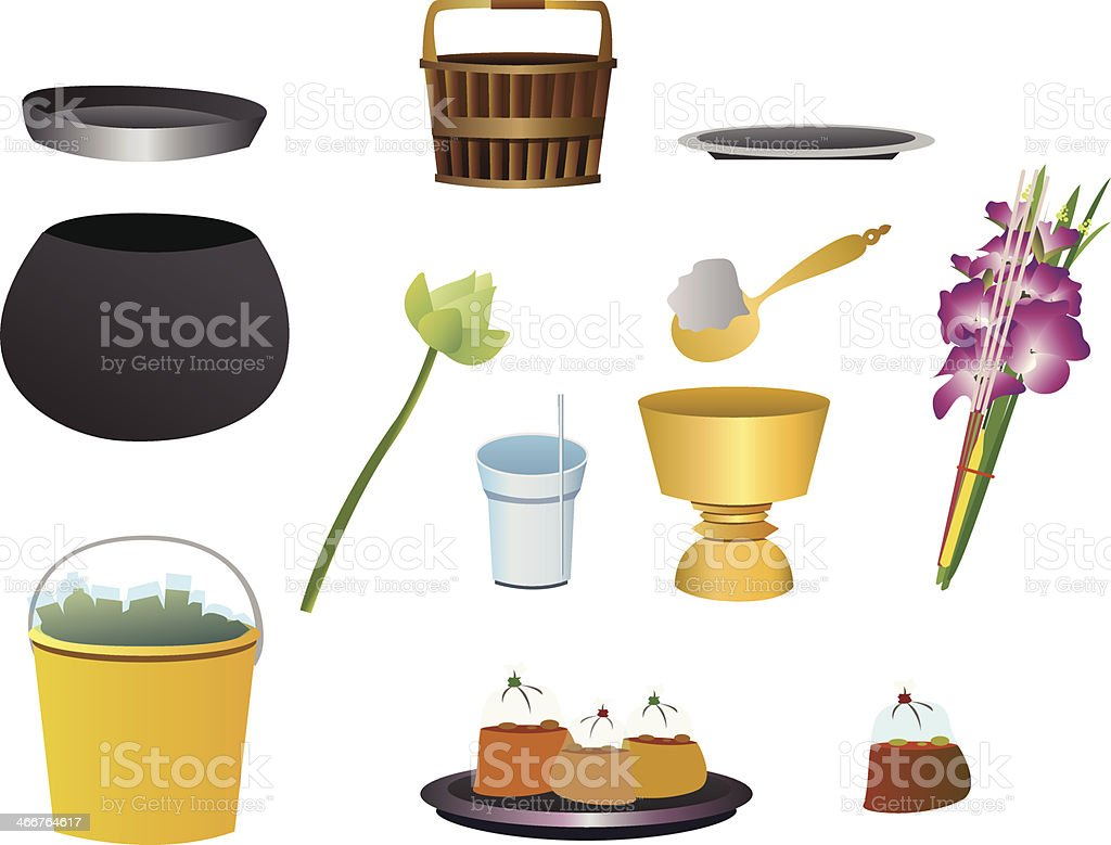 Item offer food to monk vector art illustration