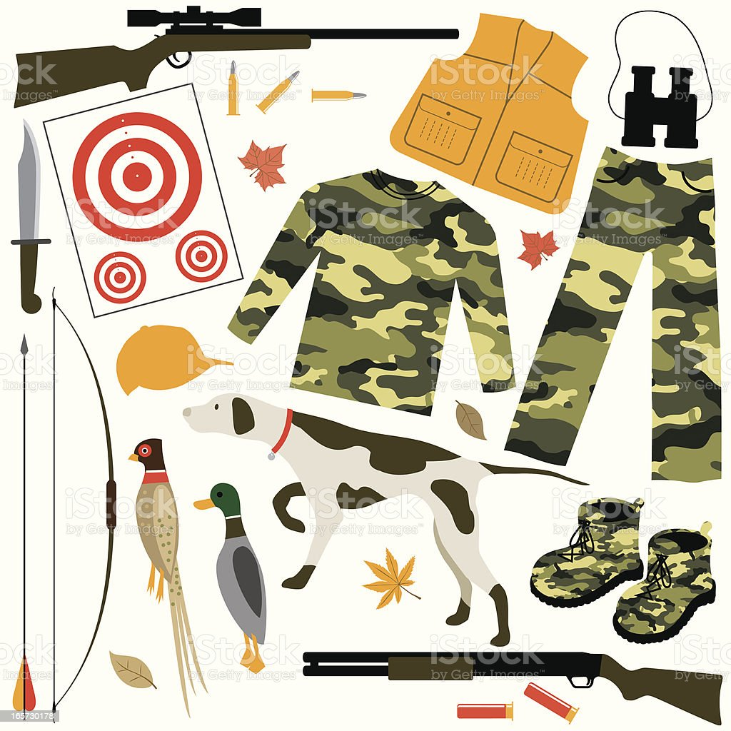 Items for Hunting royalty-free stock vector art