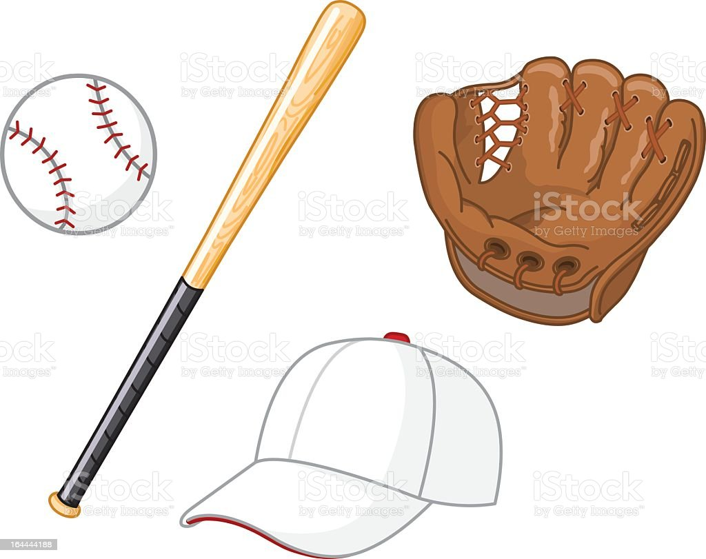Items necessary for playing baseball vector art illustration