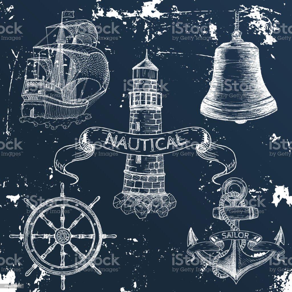 Items on the marine theme. vector art illustration