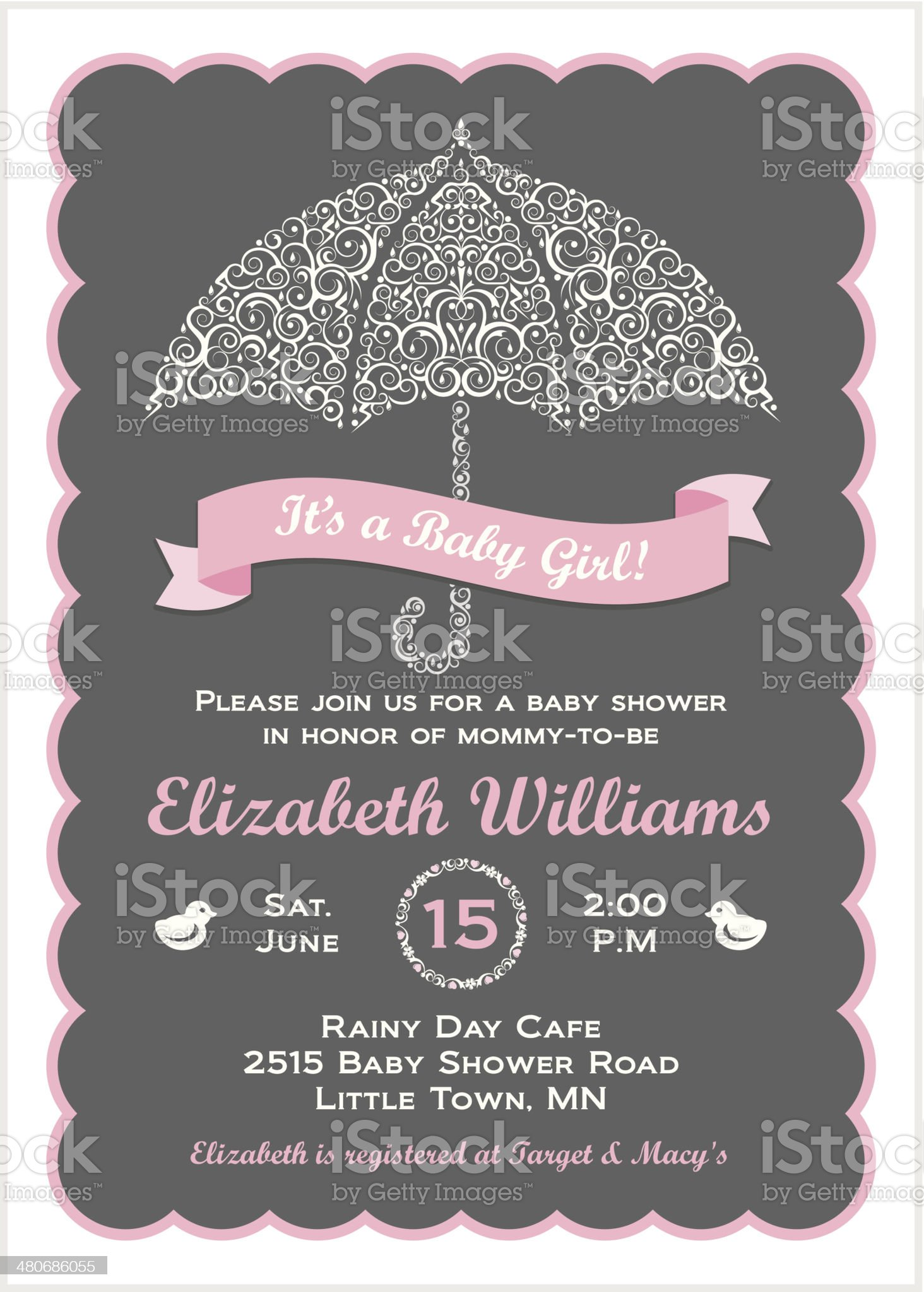 It's a Baby Girl Shower Invitation with Umbrella royalty-free stock vector art
