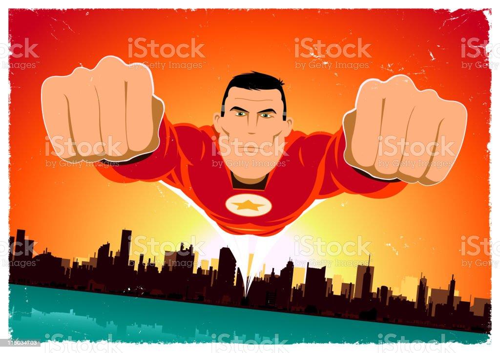 It's A Bird ! - Red Superhero vector art illustration