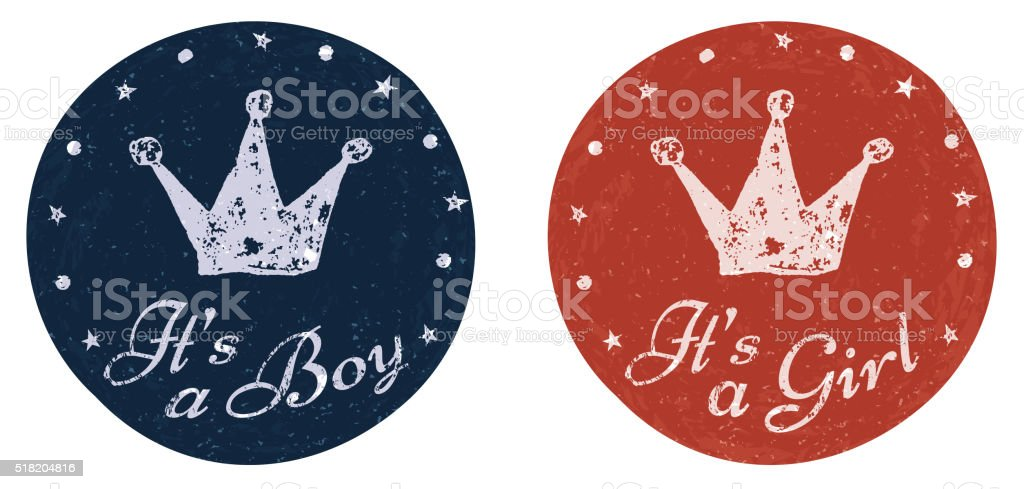 Its a boy and girl labels. vector art illustration