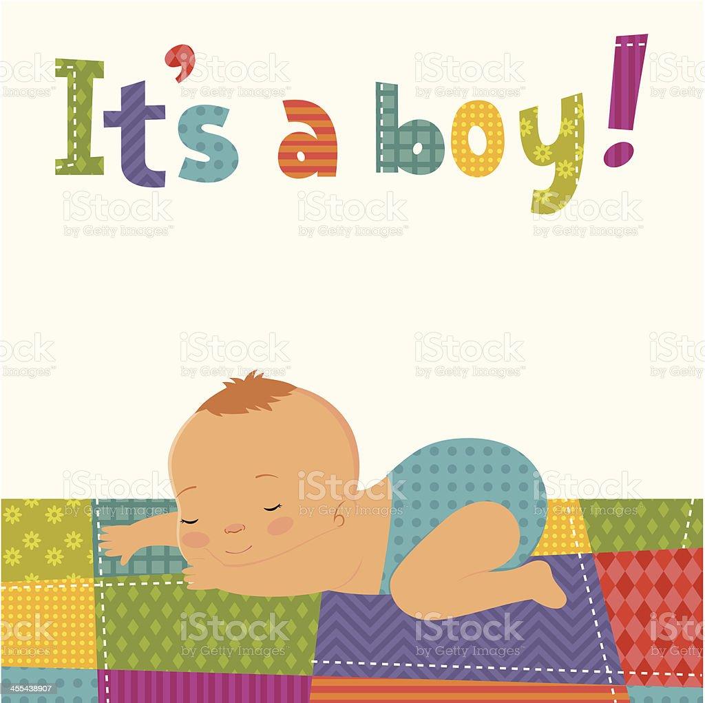 It's a boy card royalty-free stock vector art