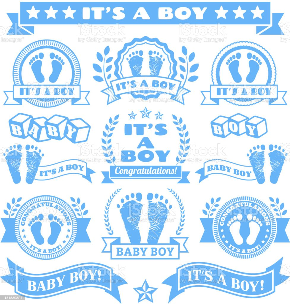 It's a Boy Newborn Baby Footprints Commemoration Blue Badge Collection royalty-free stock vector art