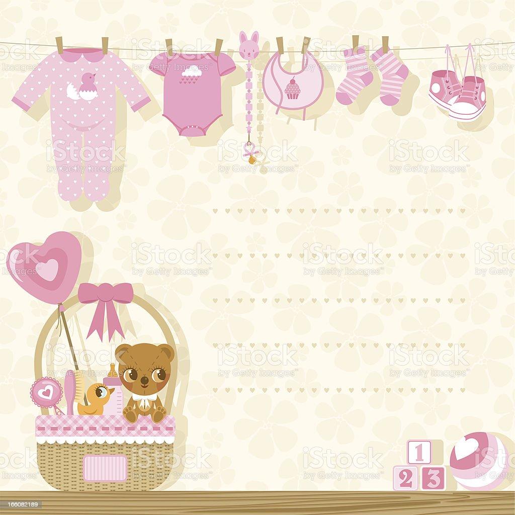 It?s a girl baby shower invitation vector art illustration