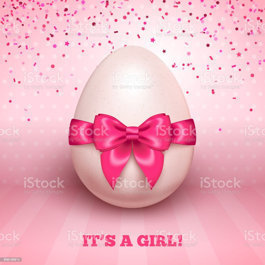 It's a girl baby shower with pink ribbon and egg vector art illustration