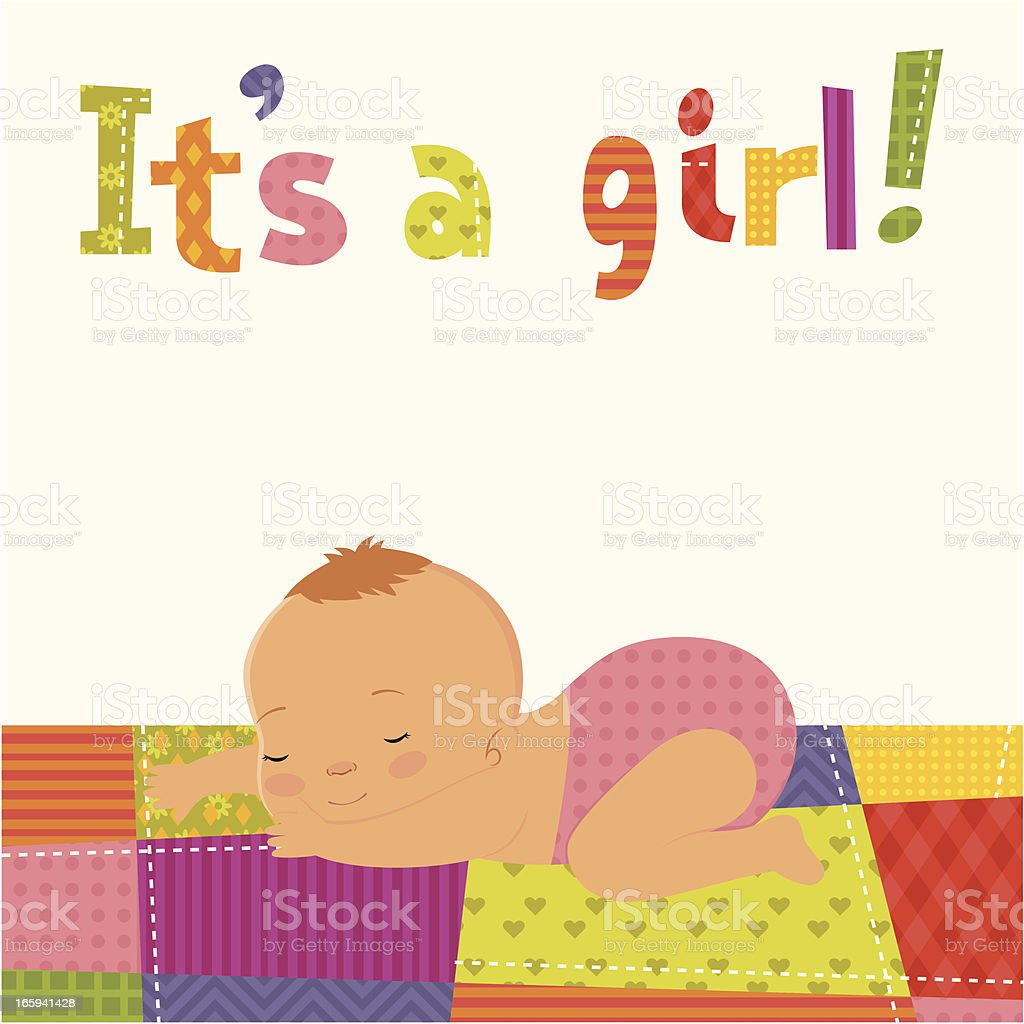 It's a girl card royalty-free stock vector art