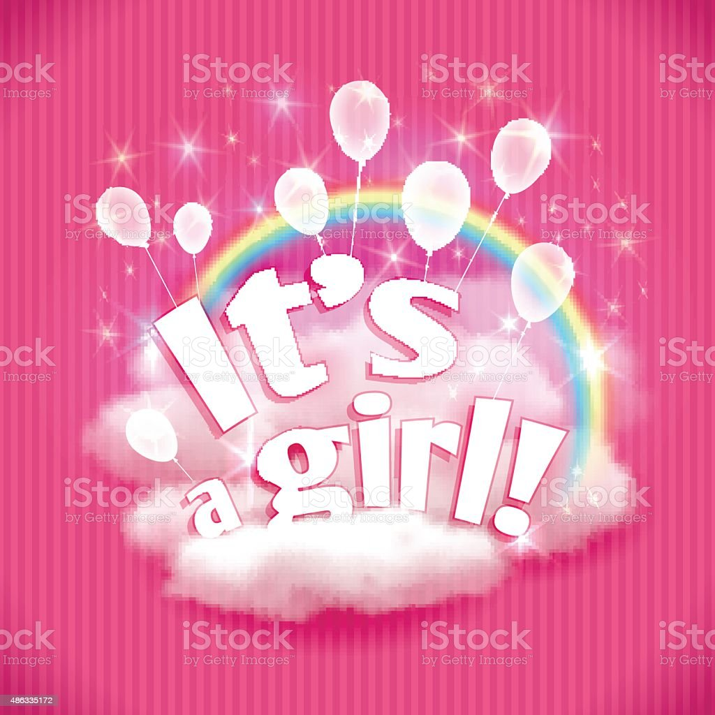 'It's a Girl!' greeting card with balloons. Vector illustration, eps10. vector art illustration