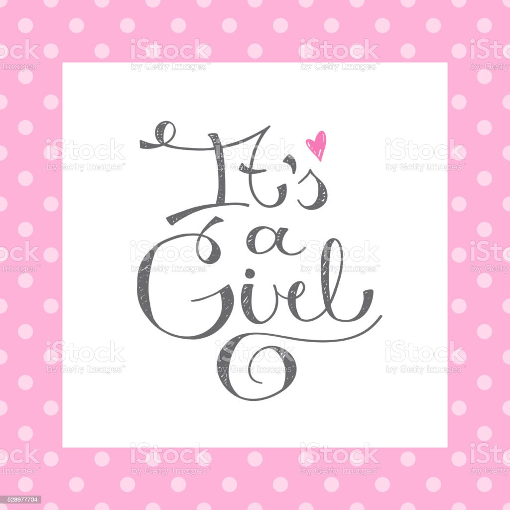 its a girl text vector art illustration