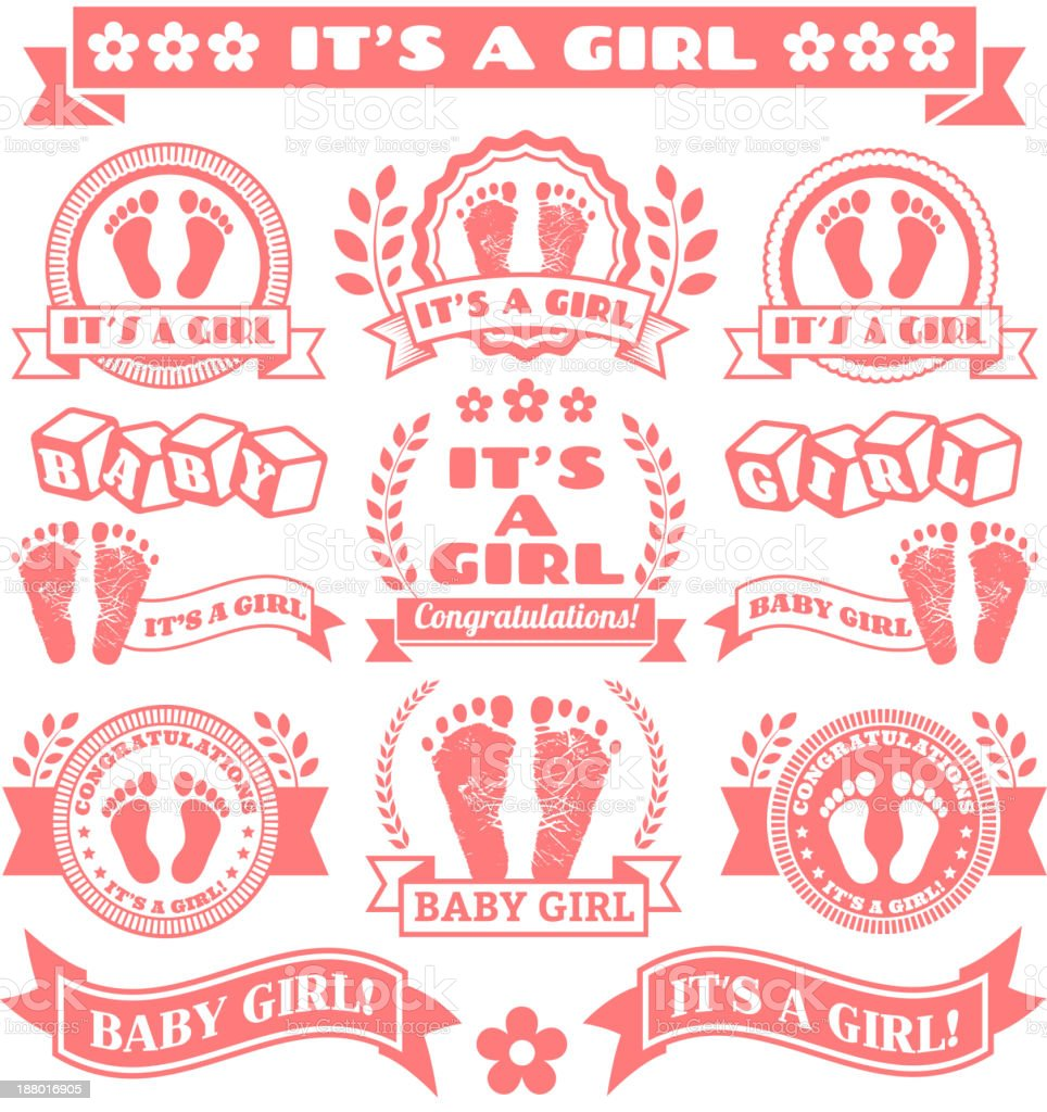 It's a Girls Newborn Baby Footprints Commemoration Pink Badge Collection vector art illustration