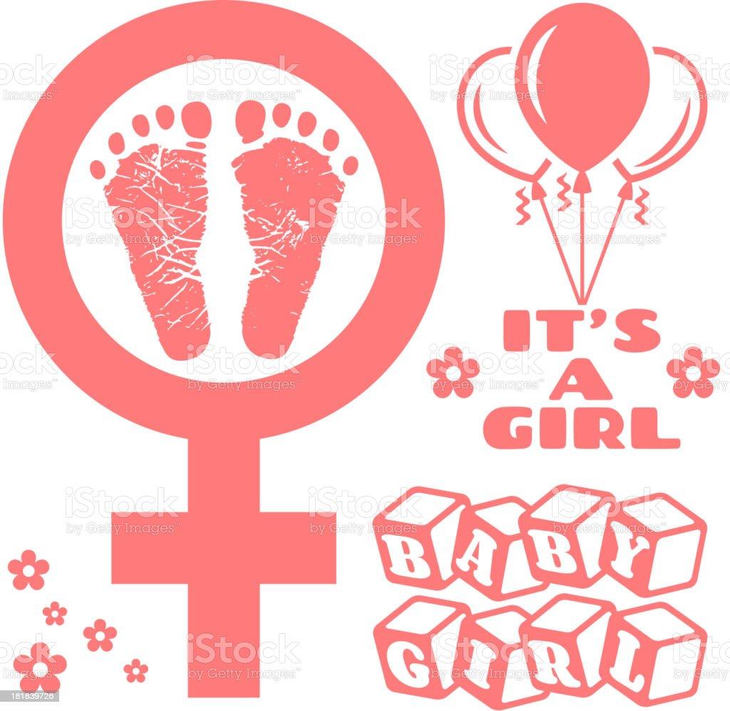 It's a Girls Newborn Baby Footprints Commemoration vector art illustration