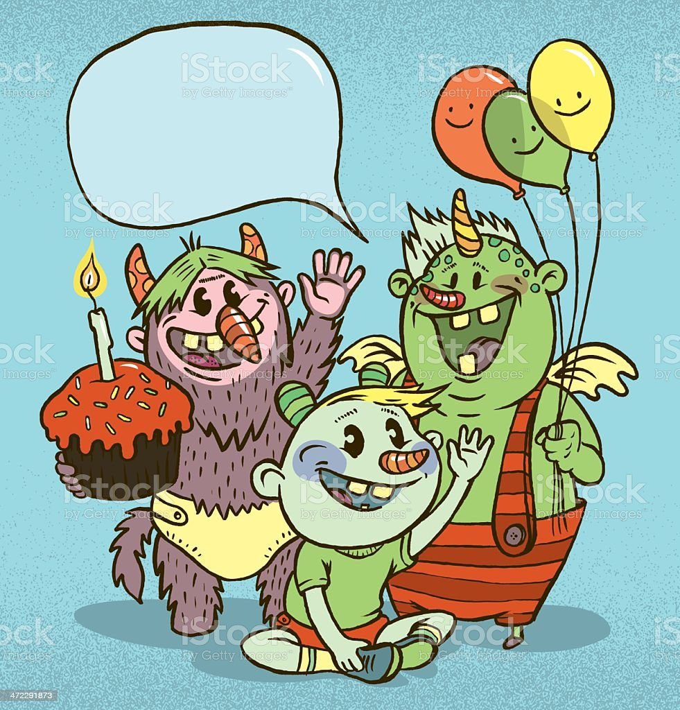 it's a monster birthday party royalty-free stock vector art