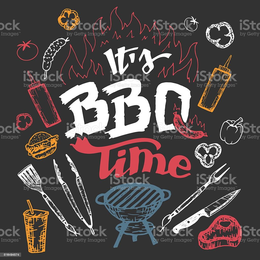 It's barbecue time hand drawn elements set vector art illustration