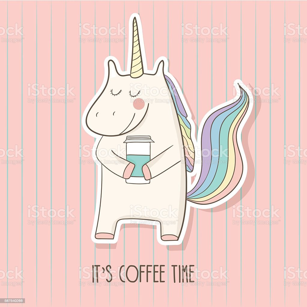 It's coffee time. Unicorn vector art illustration