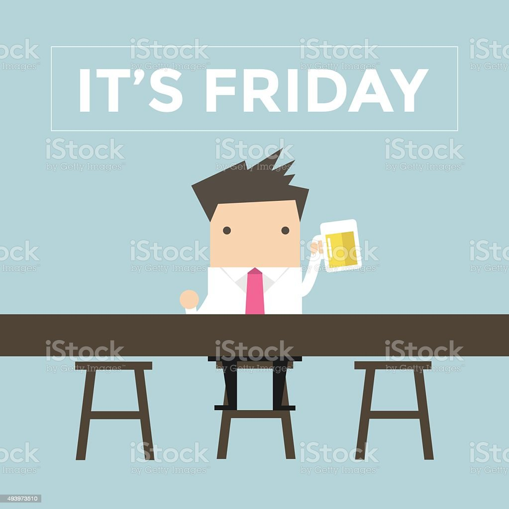 It's Friday, Businessman drinking beer at the bar vector art illustration