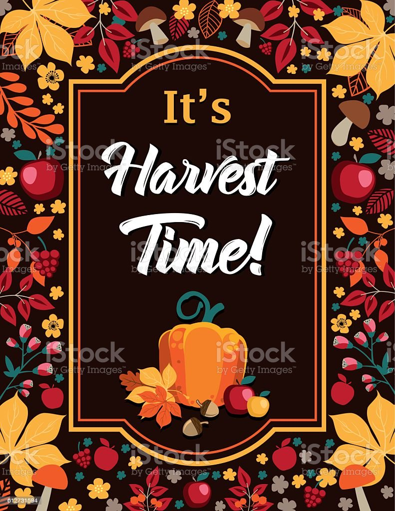 It's Harvest Time - Autumn background with frame vector art illustration