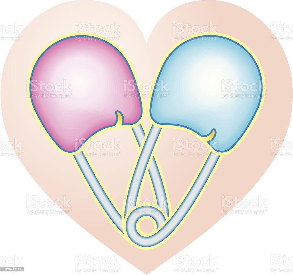It's One of Each diaper pin heart vector art illustration