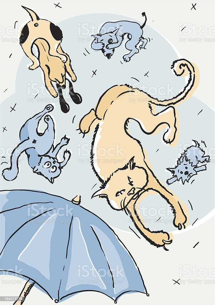 Its Raining Cats and Dogs royalty-free stock vector art