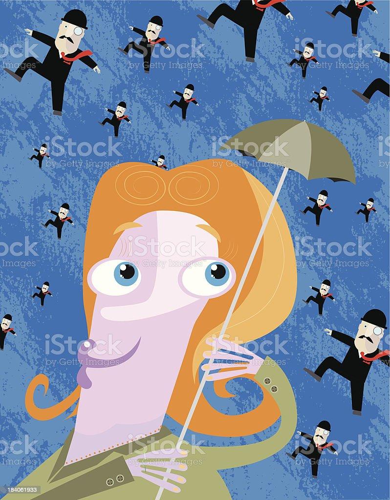 It?s raining men vector art illustration