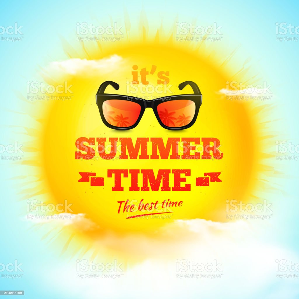 It's Summer Time typographic inscription with sunglasses on sun vector art illustration