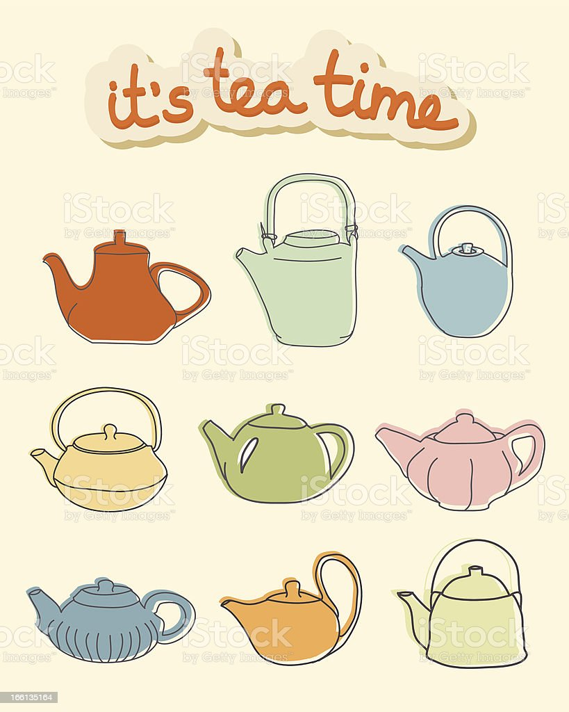 It's tea time. Nine colorful teapots on beige background royalty-free stock vector art