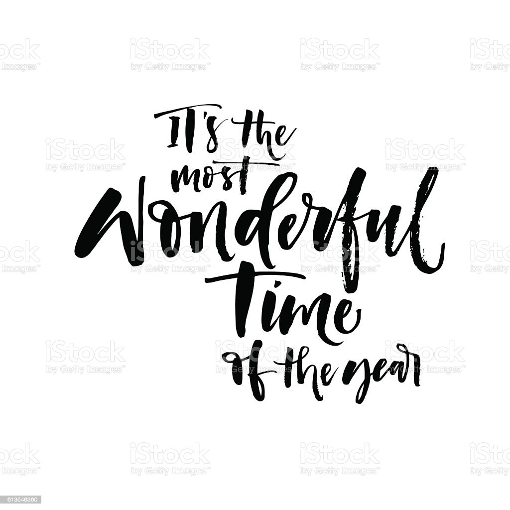 It's the most wonderful time of the year postcard. vector art illustration