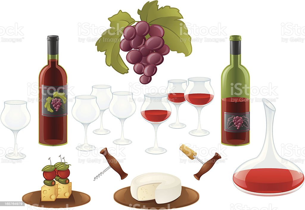 it's time for red wine vector art illustration