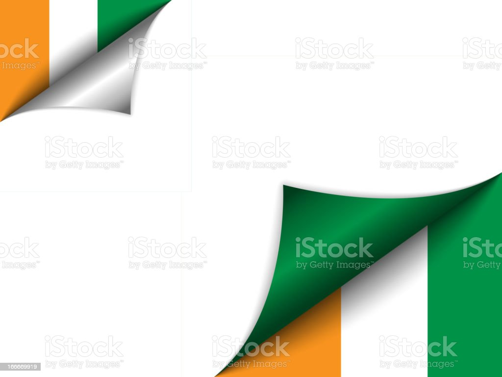 Ivory Coast Country Flag Turning Page royalty-free stock vector art