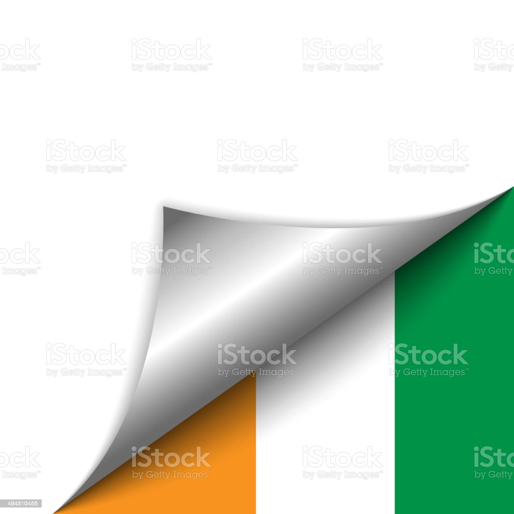 Ivory Coast Country Flag Turning Page vector art illustration