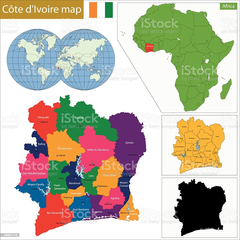 Ivory Coast map vector art illustration