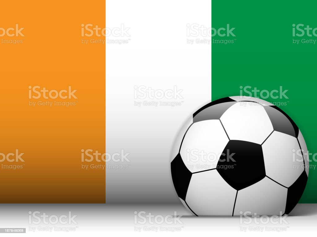 Ivory Coast Soccer Ball with Flag Background royalty-free stock vector art