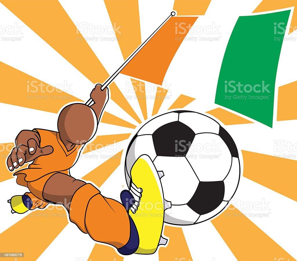 Ivory coast soccer player vector cartoon royalty-free stock vector art