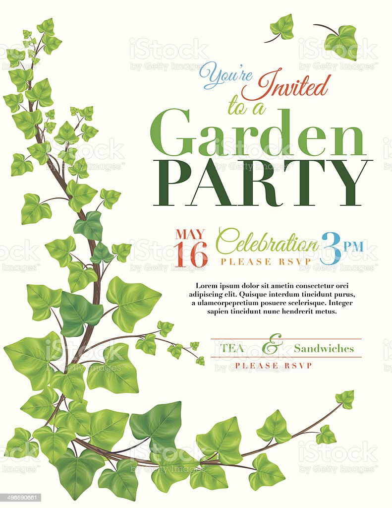 ivy garden party invitation template stock vector art 496590661 istock. Black Bedroom Furniture Sets. Home Design Ideas