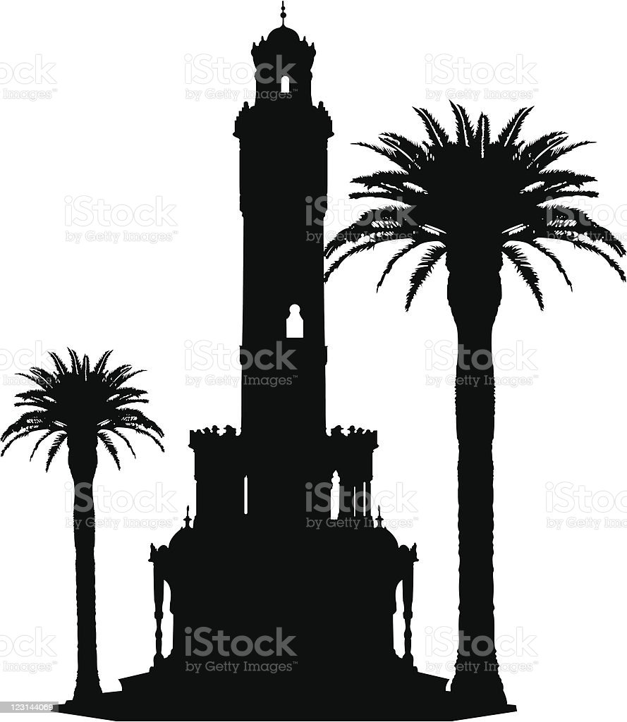 Izmir clock tower silhouette vector art illustration