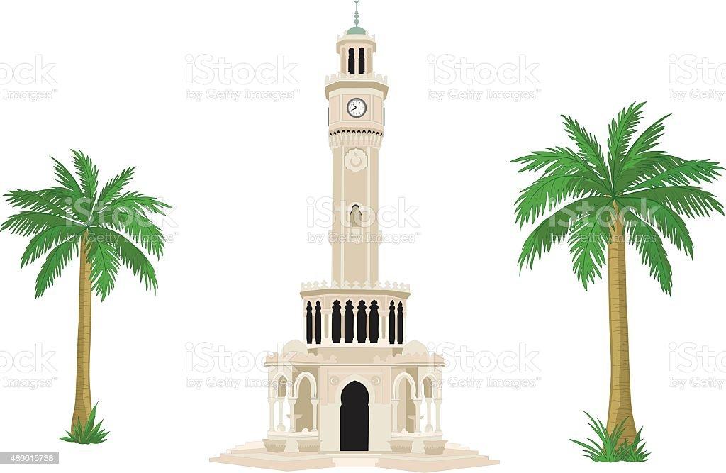 Izmir clock tower vector vector art illustration