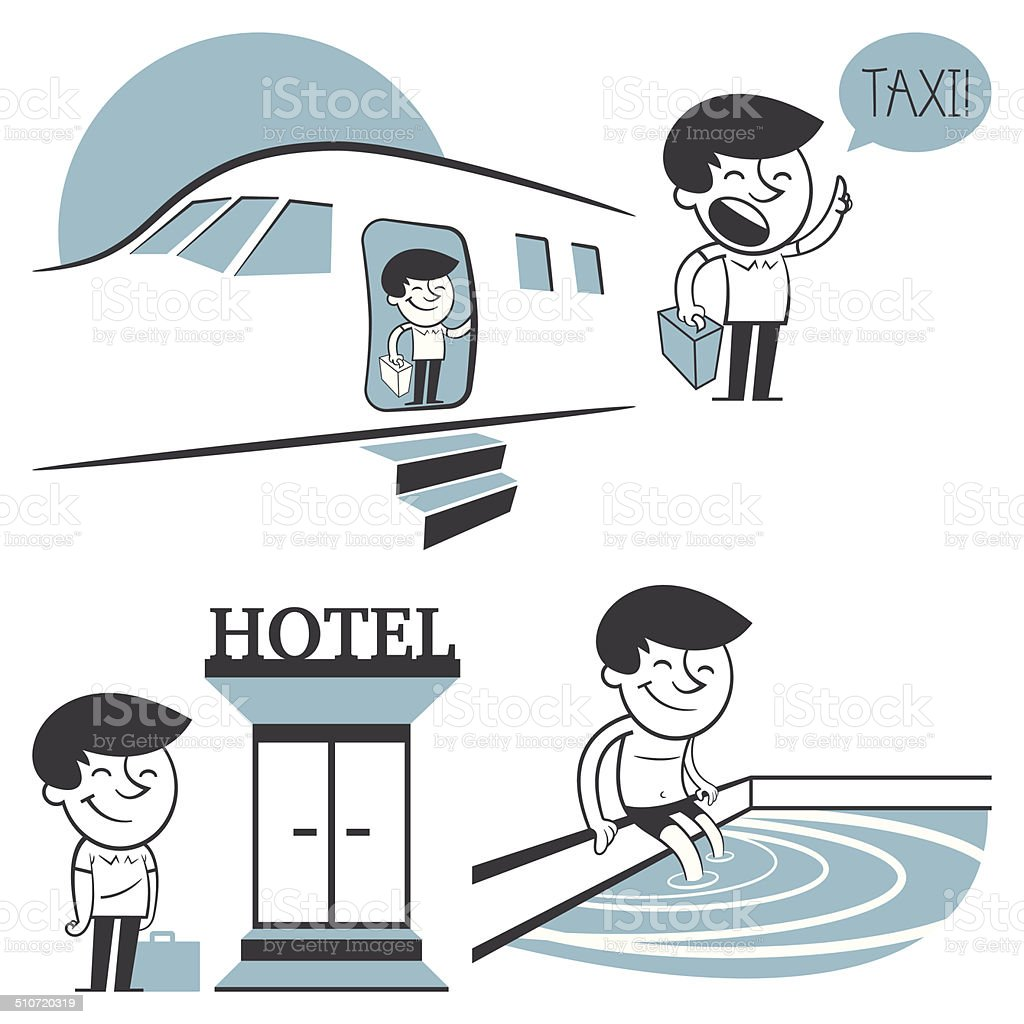 Jack Jack leaves the plane and heads to his hotel vector art illustration