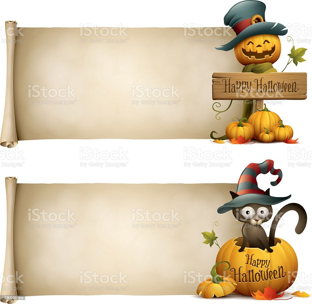 Jack o lantern and black cat witch halloween banner vector art illustration