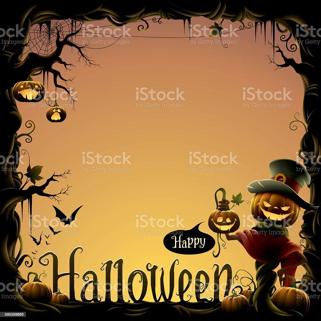 Jack o lantern halloween border vector art illustration